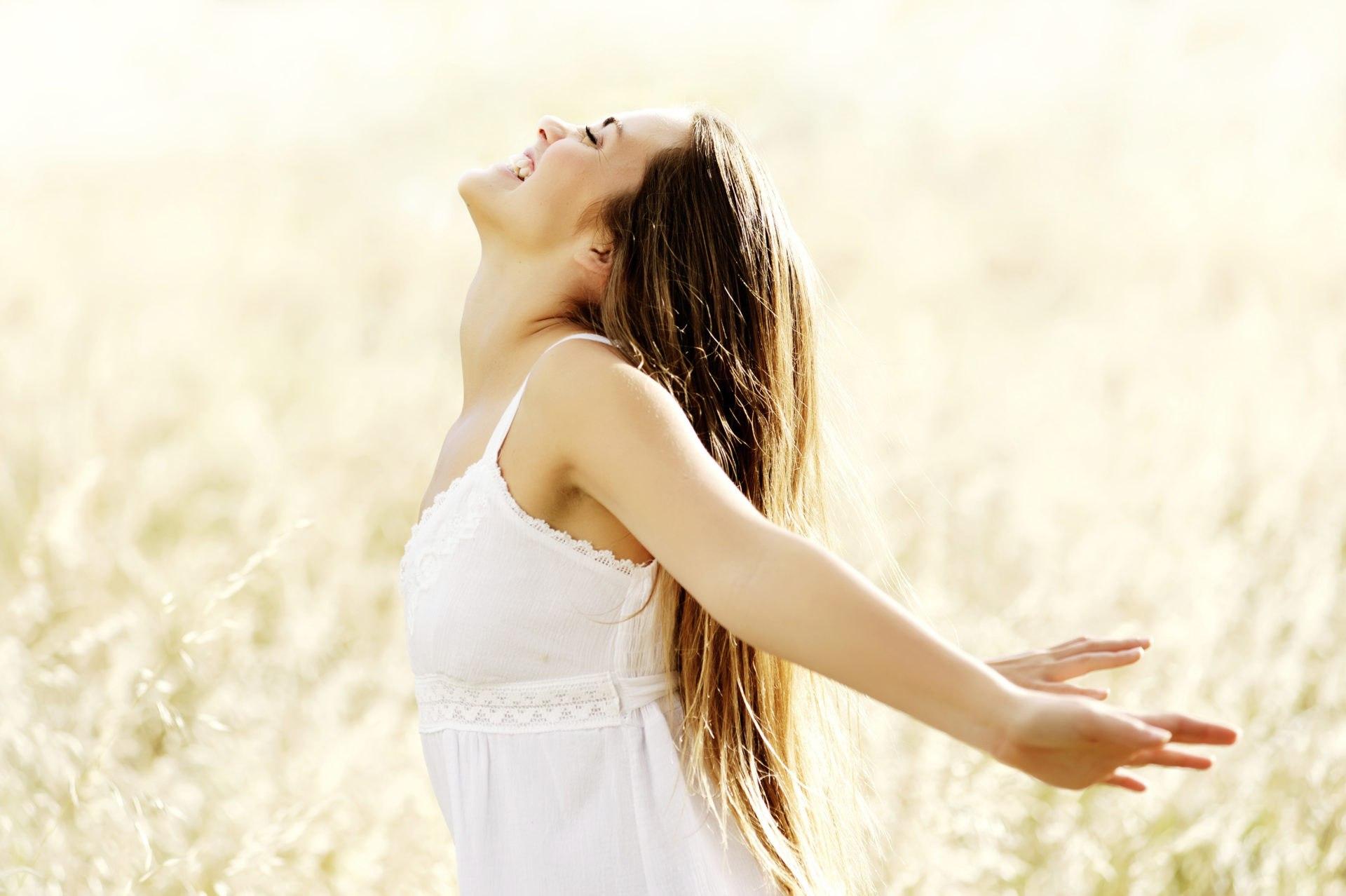 joyful carefree woman